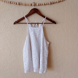 Hollister white lace flowy lined tank top small